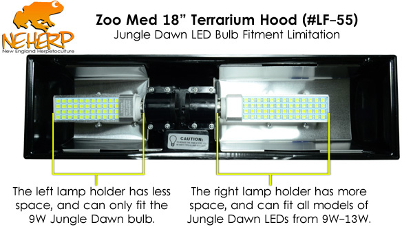 The 12  hood fits all Jungle Dawn LED bulbs from 9W-13W. The 18  model requires one 9W Jungle Dawn on one socket and either a 9W 11W or 13W on the other ...  sc 1 st  NEHERP & NEHERP - Screw Bulb (E27) Lighting Fixtures